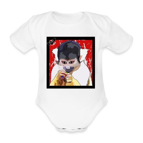 'Clever Monkey 2' by BlackenedMoonArts, w. logo - Kortærmet babybody, økologisk bomuld
