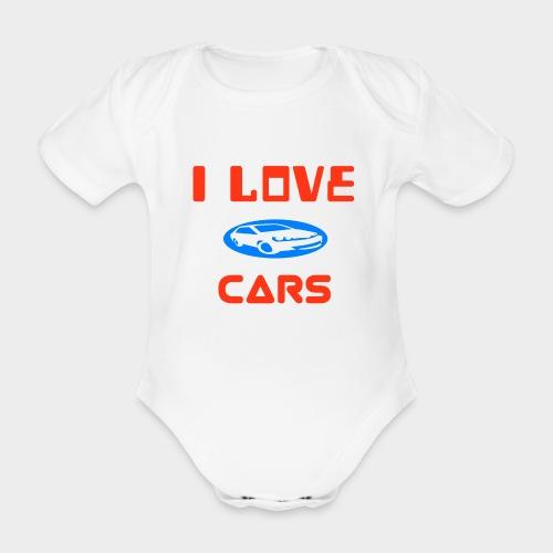 I Love cars - Organic Short-sleeved Baby Bodysuit