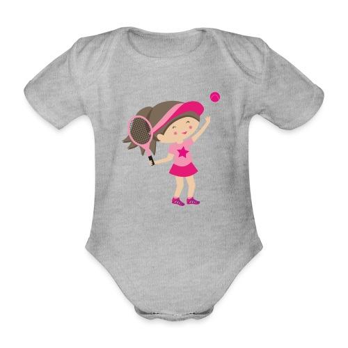Happy Meitlis - Tennis Mädchen - Baby Bio-Kurzarm-Body