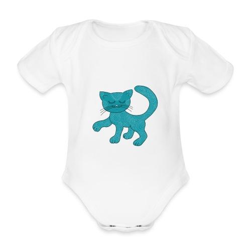 Spirituell anmutende Katze in Türkis mit Muster - Baby Bio-Kurzarm-Body
