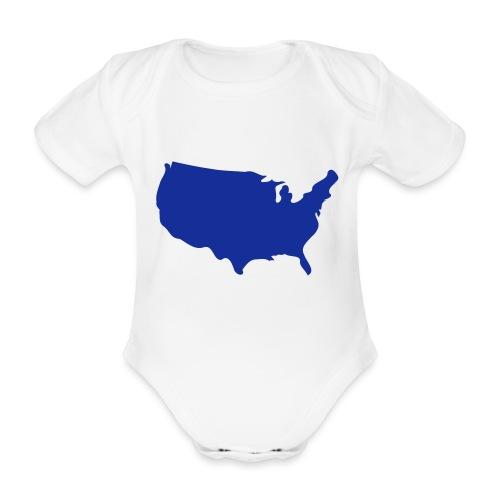 usa map - Organic Short-sleeved Baby Bodysuit