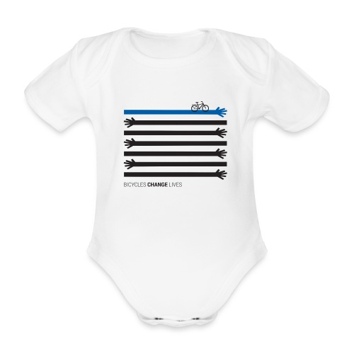 BCL Black Hands One Blue - Organic Short-sleeved Baby Bodysuit