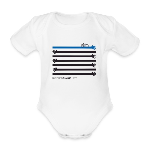 BCL Black Hands One Blue - Organic Short-sleeved Baby Bodysuit