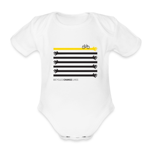 BCL Black Hands One Yellow - Organic Short-sleeved Baby Bodysuit