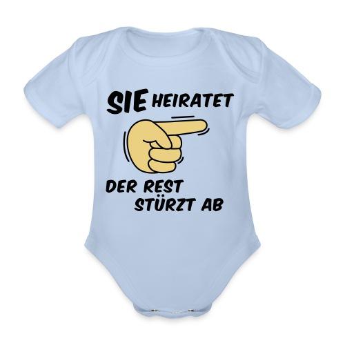 Sie heiratet der Rest stürzt ab - JGA T-Shirt - Baby Bio-Kurzarm-Body