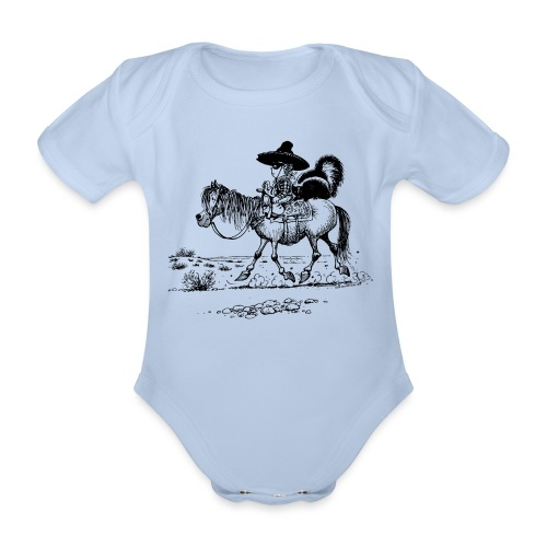 Thelwell 'Cowboy with a skunk' - Organic Short-sleeved Baby Bodysuit