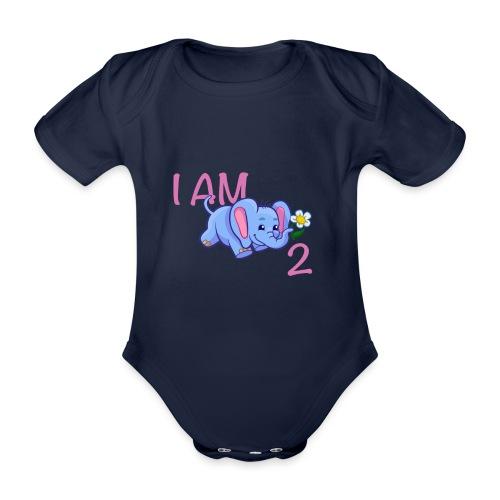 I am 2 - elephant pink - Organic Short-sleeved Baby Bodysuit