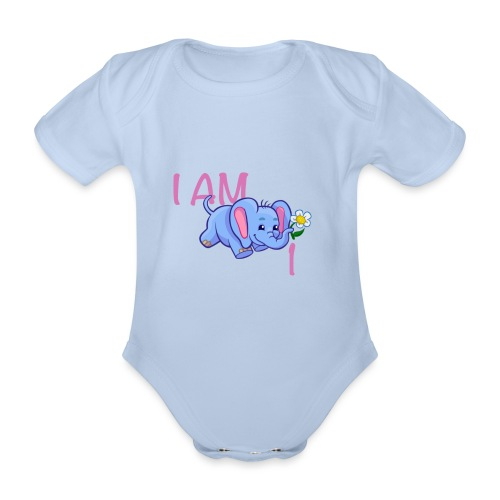 I am 1 - elephant pink - Organic Short-sleeved Baby Bodysuit