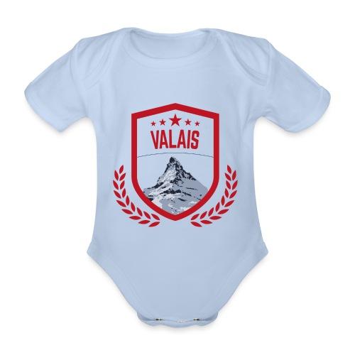 Walliser Logo mit dem Matterhorn - Baby Bio-Kurzarm-Body