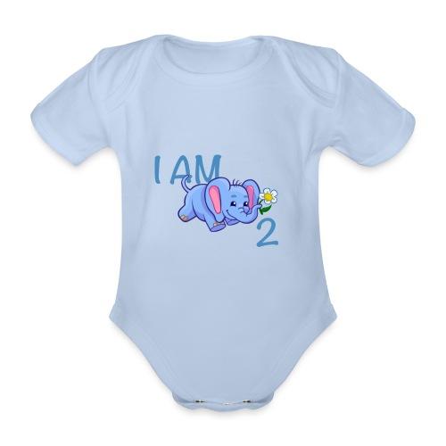I am 2 - elephant blue - Organic Short-sleeved Baby Bodysuit