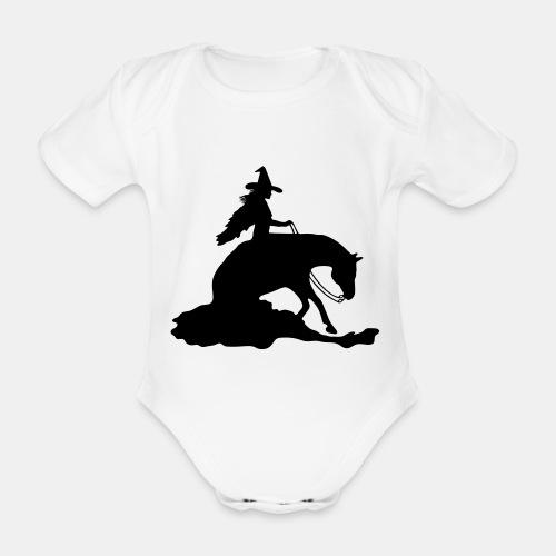Hexe auf Westernpferd, Sliding Stop - Baby Bio-Kurzarm-Body