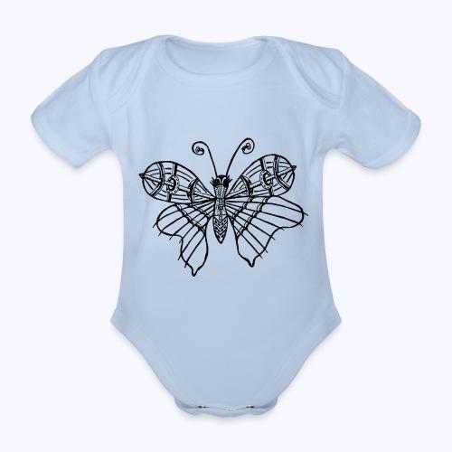 Schmetterling schwarz - Baby Bio-Kurzarm-Body
