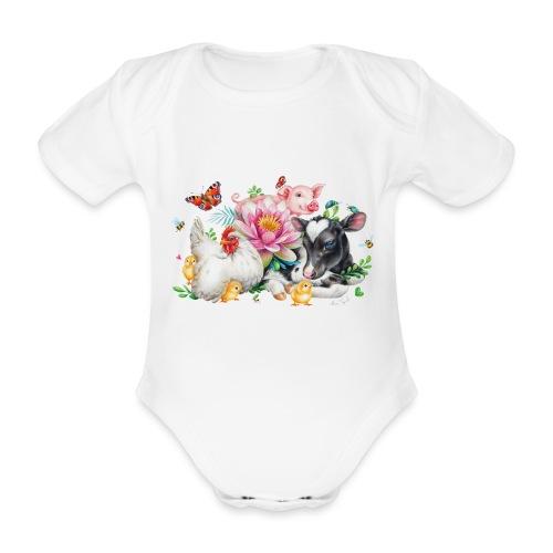 animals summer - Organic Short-sleeved Baby Bodysuit