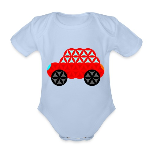 The Car Of Life - M01, Sacred Shapes, Red/R01. - Organic Short-sleeved Baby Bodysuit