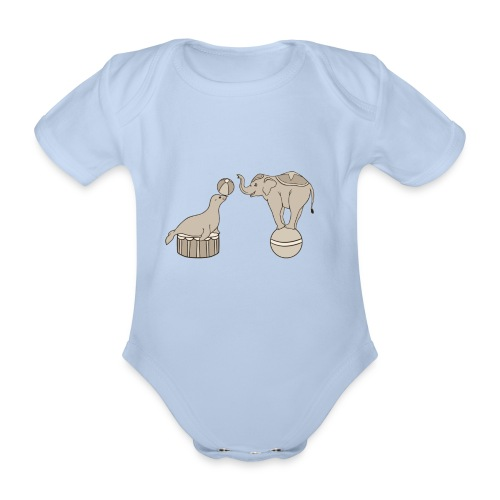 Circus elephant and seal - Organic Short-sleeved Baby Bodysuit
