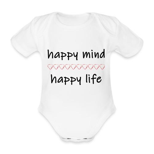 happy mind - happy life - Baby Bio-Kurzarm-Body