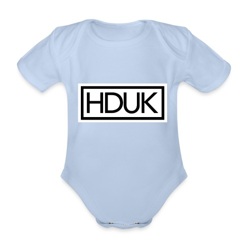HDUK Black Logo with Border - Organic Short-sleeved Baby Bodysuit