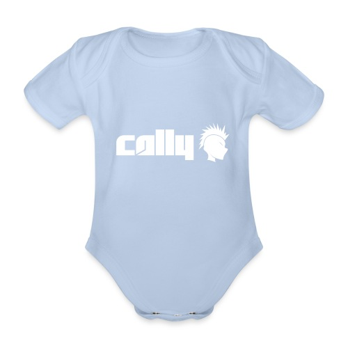 Cally White Logo - Organic Short-sleeved Baby Bodysuit