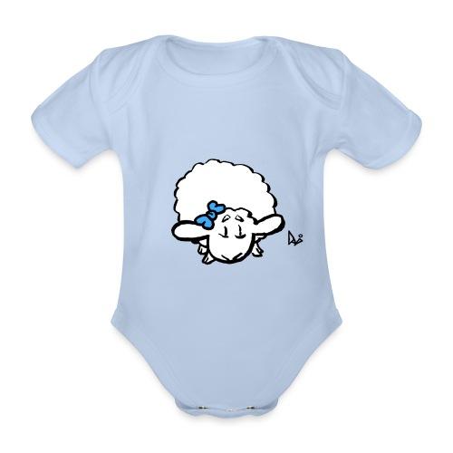 Baby Lamb (blue) - Baby bio-rompertje met korte mouwen