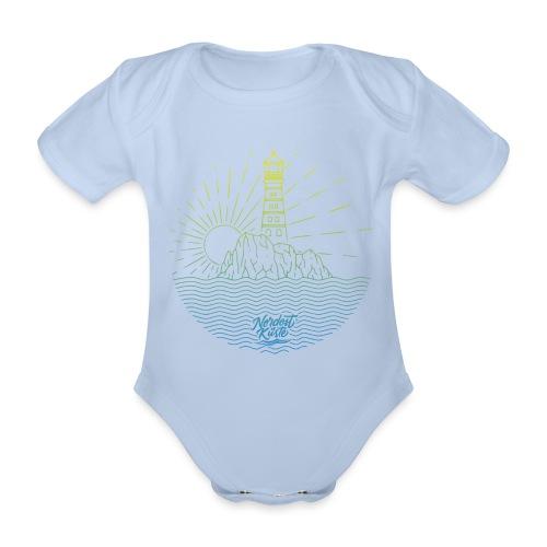 Leuchtturm mit Sonne am Meer - Baby Bio-Kurzarm-Body