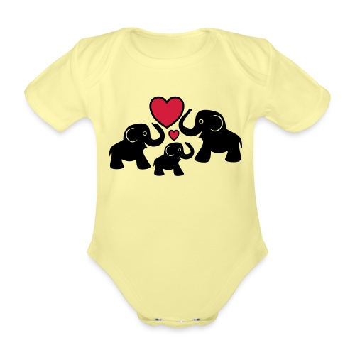 Zu dritt Elefanten Familie Mama Papa Baby Herz - Baby Bio-Kurzarm-Body