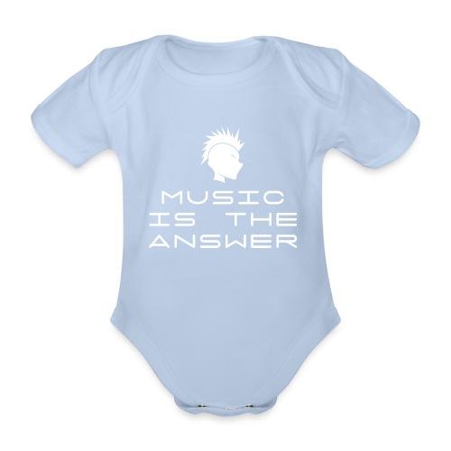 Mohawk Logo - Music is the Answer - Organic Short-sleeved Baby Bodysuit