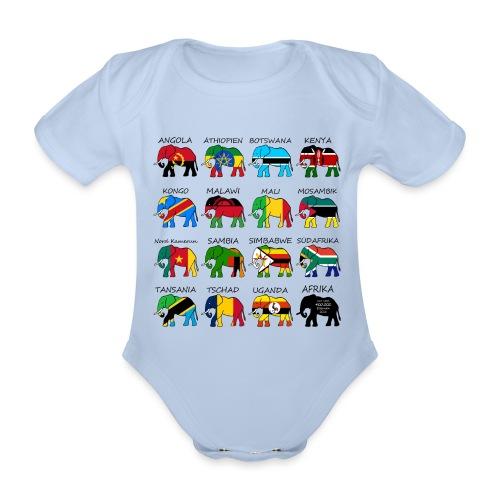 ELEFANTEN AFRIKAS mit Flaggen - Baby Bio-Kurzarm-Body