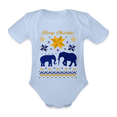 Merry Christmas I Elefanten - Baby Bio-Kurzarm-Body