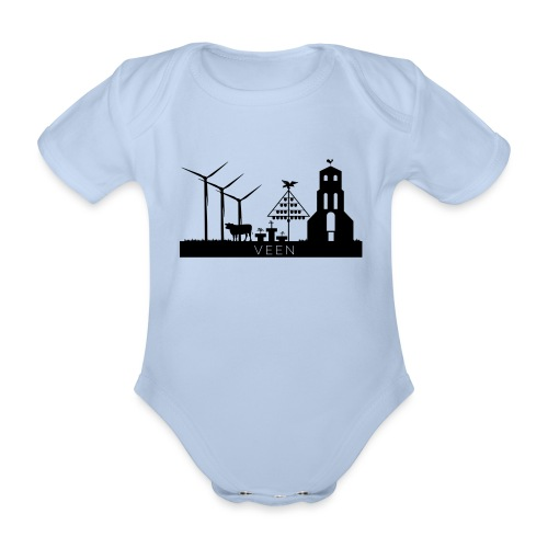 VEEN skyline black - Baby Bio-Kurzarm-Body