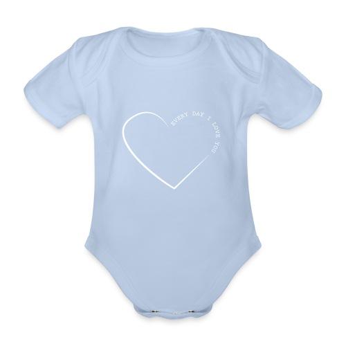 LOVE white png - Organic Short-sleeved Baby Bodysuit