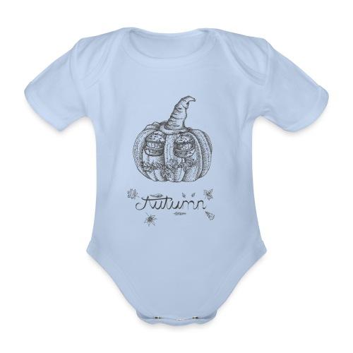 Autumn - herbstlicher Kürbiskopf - Baby Bio-Kurzarm-Body
