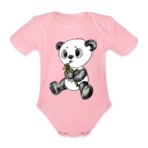 Panda bjørn farvet scribblesirii - Kortærmet babybody, økologisk bomuld