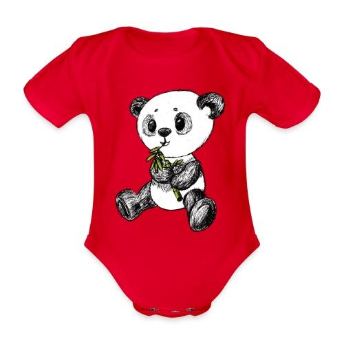 Panda Karhu värillinen scribblesirii - Vauvan lyhythihainen luomu-body