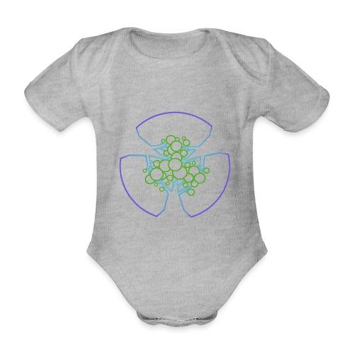 Drei Bäume, blau-grün - Baby Bio-Kurzarm-Body