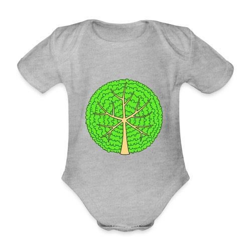 Baum, rund, hellgrün - Baby Bio-Kurzarm-Body