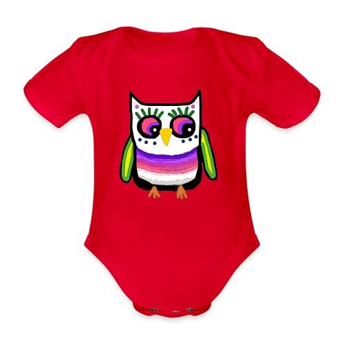 Colorful owl - Organic Short-sleeved Baby Bodysuit