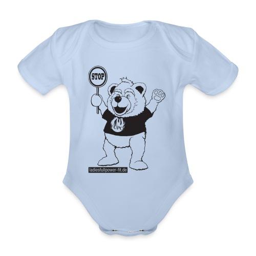 FUPO der Bär. Druckfarbe schwarz - Baby Bio-Kurzarm-Body