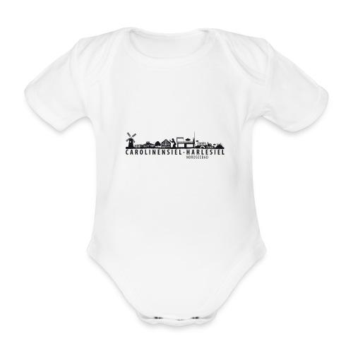 Skyline Carolinensiel-Harlesiel (schwarz) - Baby Bio-Kurzarm-Body