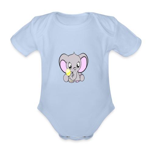 Baby olifantje met rammelaar - Baby bio-rompertje met korte mouwen