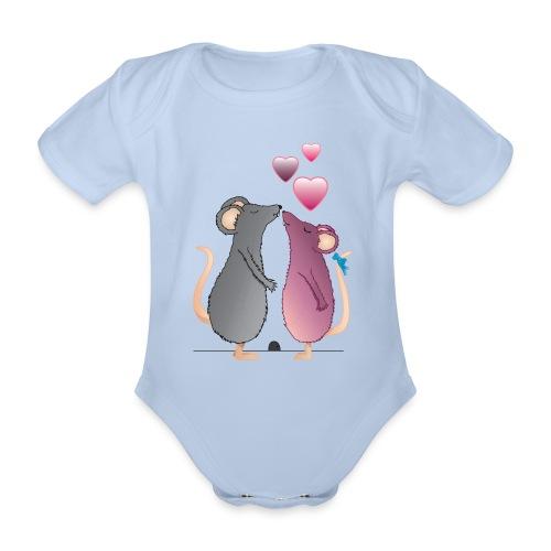 ratones3 - Body orgánico de maga corta para bebé