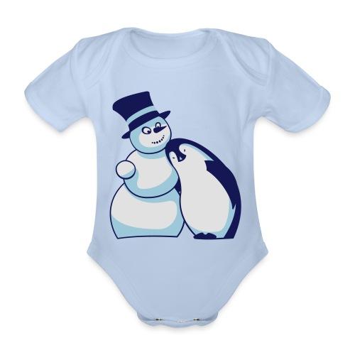 Schneemann und Pinguin - Baby Bio-Kurzarm-Body