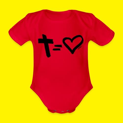 Cross = Heart BLACK - Organic Short-sleeved Baby Bodysuit
