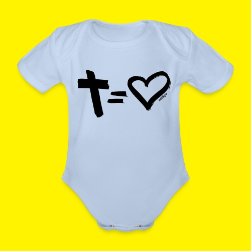 Cross = Heart BLACK - Organic Short-sleeved Baby Bodysuit