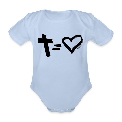 Cross = Heart BLACK // Cross = Love BLACK - Organic Short-sleeved Baby Bodysuit