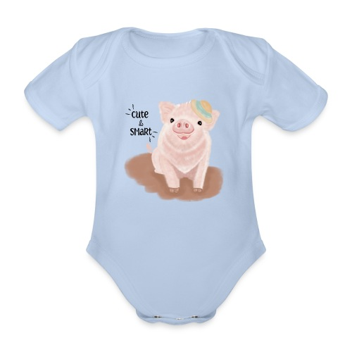 Cute & Smart Pig - Organic Short-sleeved Baby Bodysuit
