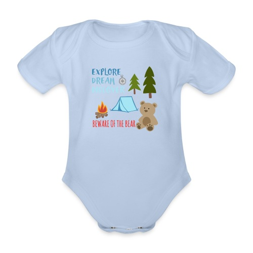 Beware Of The Bear - Organic Short-sleeved Baby Bodysuit