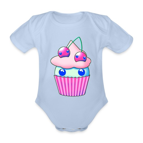 Sweet muffins with pink cherry and eyes - Organic Short-sleeved Baby Bodysuit