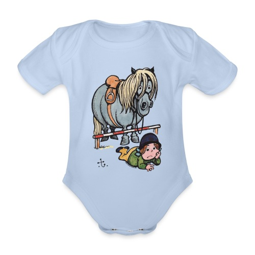 Thelwell Funny Showjumping Gone Wrong - Organic Short-sleeved Baby Bodysuit