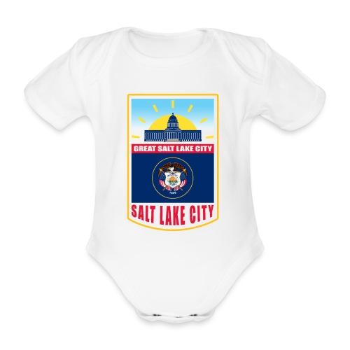 Utah - Salt Lake City - Organic Short-sleeved Baby Bodysuit