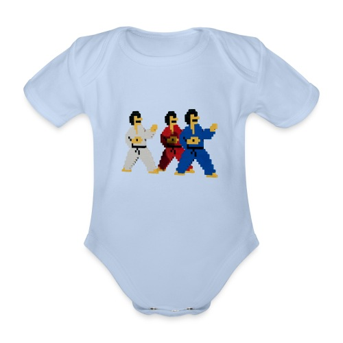 8 bit trip ninjas 1 - Organic Short-sleeved Baby Bodysuit